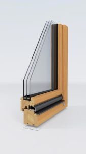 Ein Holzfenster in Schnittansicht